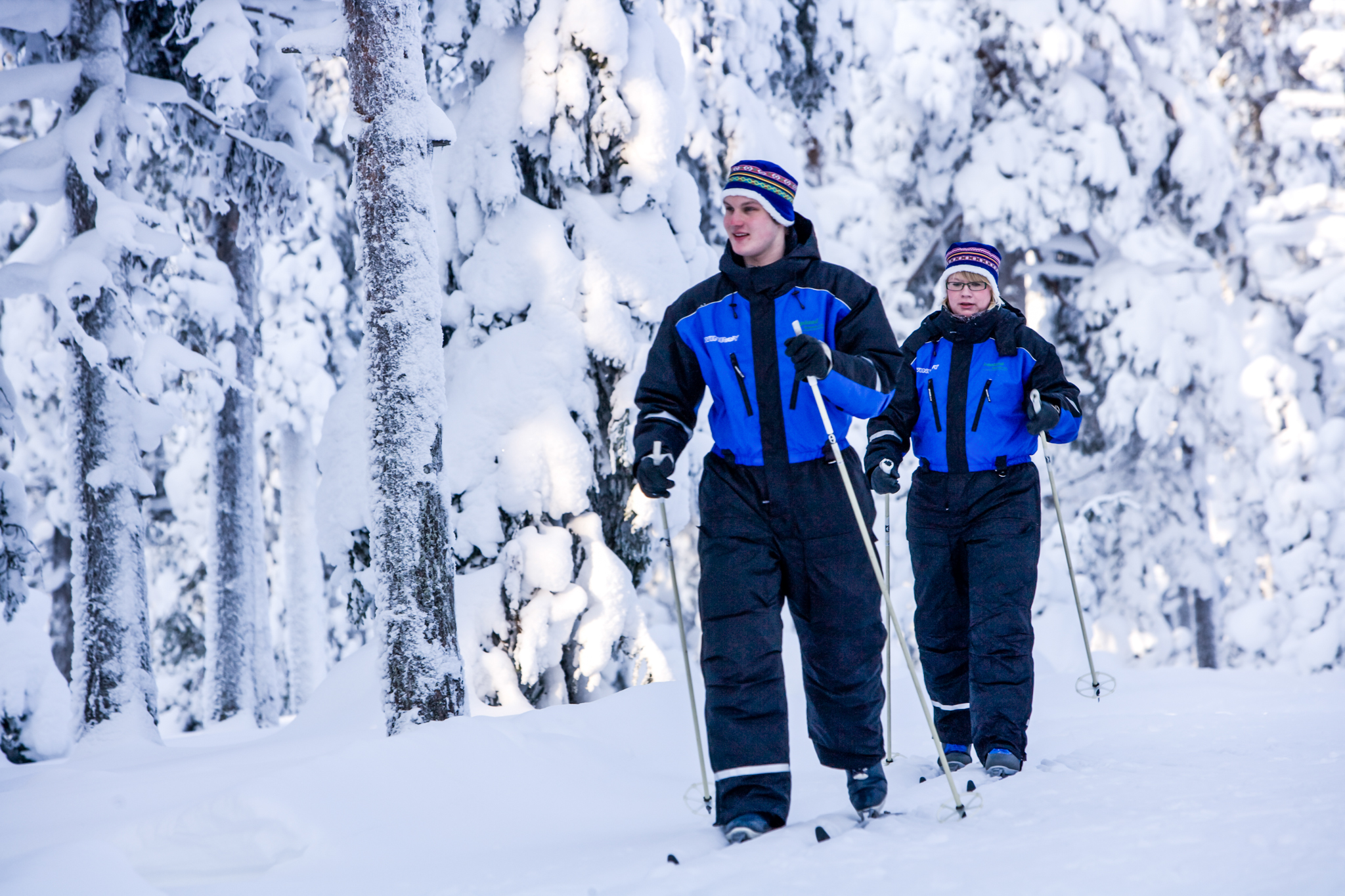 two people during a cross country skiing trip
