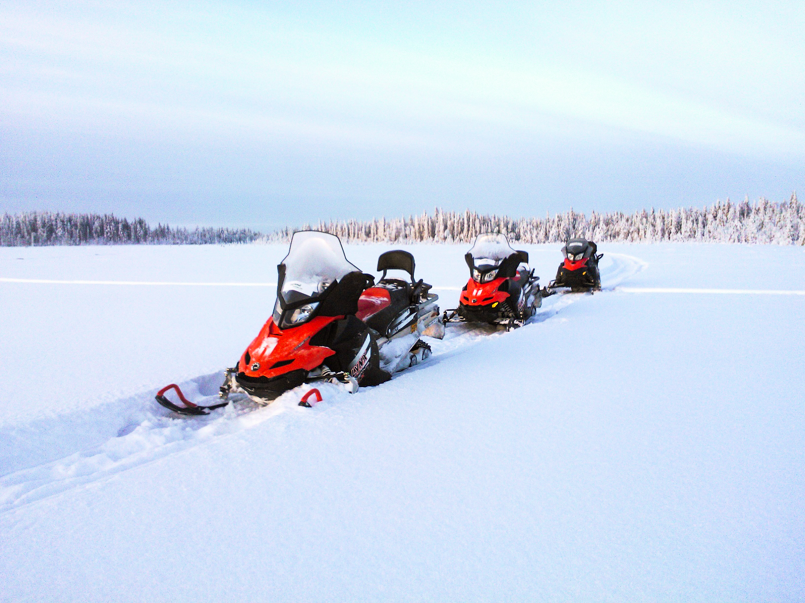snowmobiles in snow