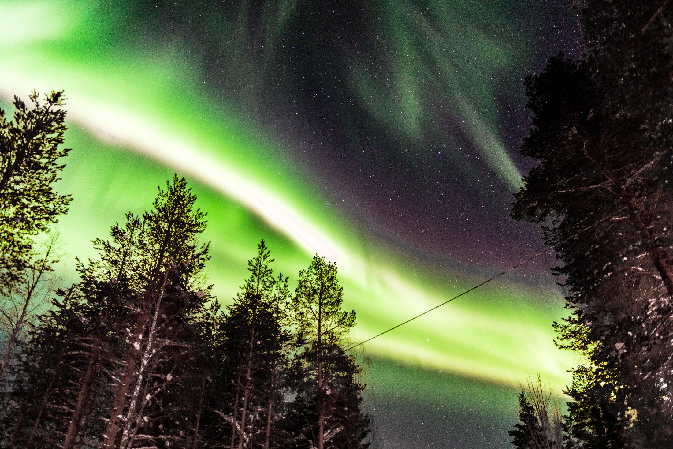bright green northern lights