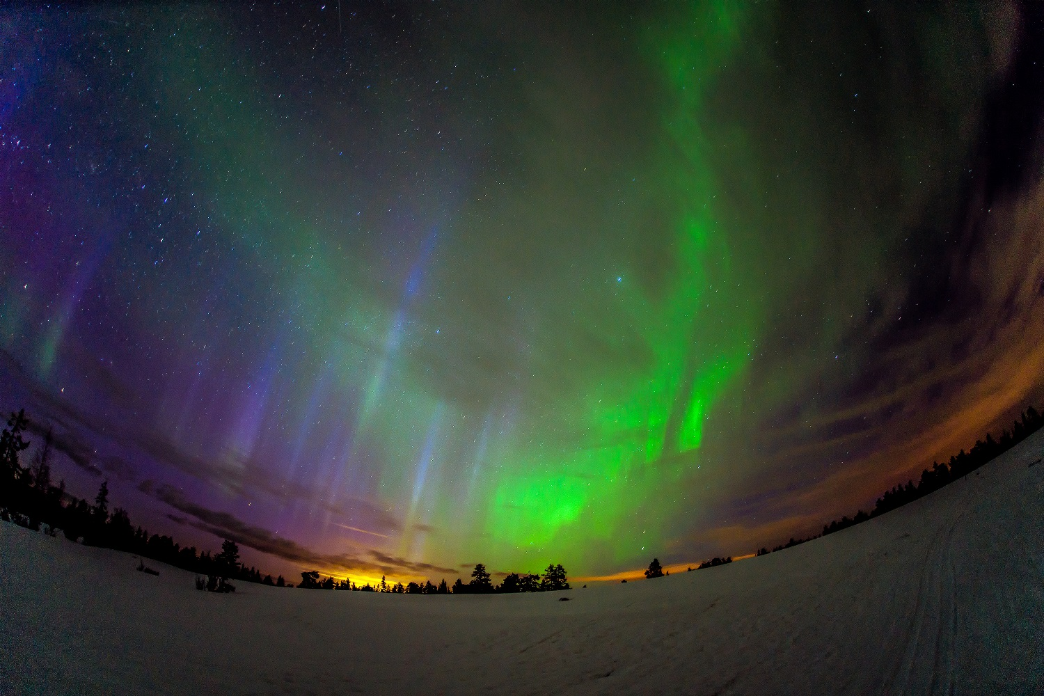 colorful sky with northern lights