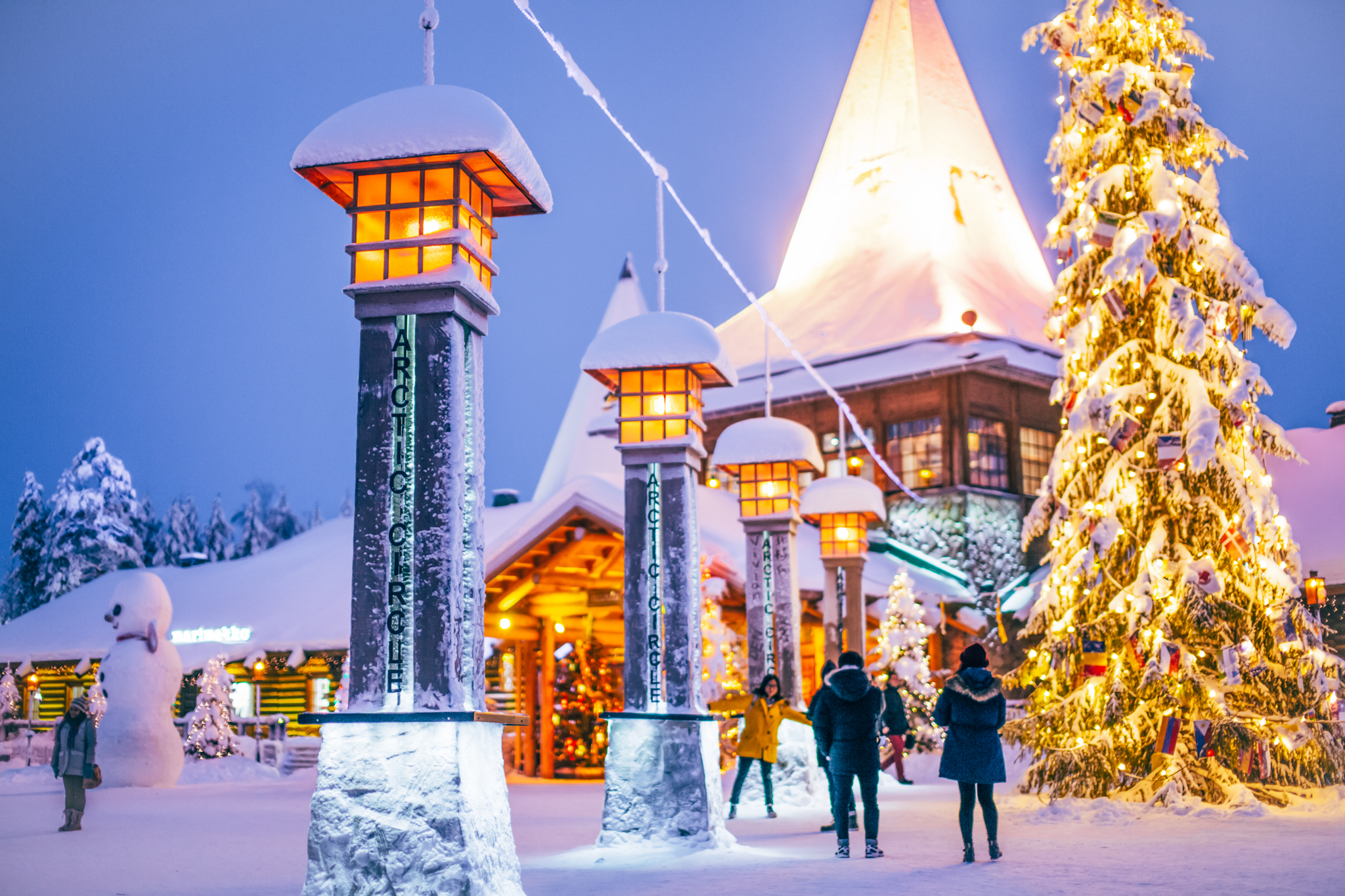 Santa Claus Village and arctic circle with harmonious lights