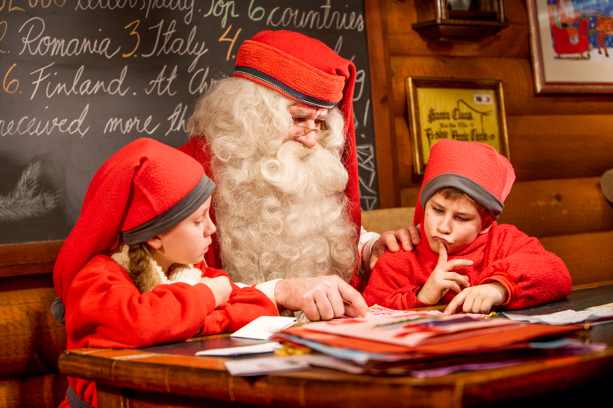 Santa Claus in Post Office with Kids