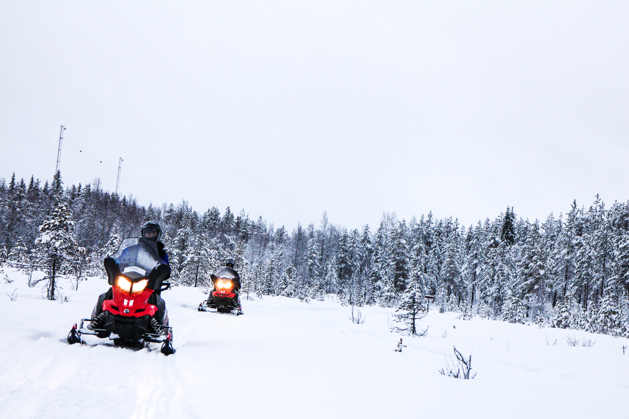 two people driving snowmobiles in snowy forest